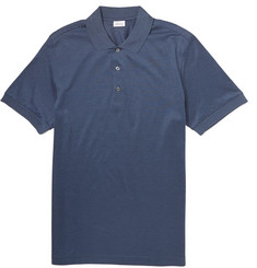 Brioni Striped Cotton And Silk-Blend Polo Shirt