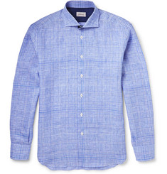 Brioni Chambray-Trimmed Checked Linen Shirt
