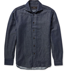 Brioni Indigo Linen and Cotton-Blend Shirt