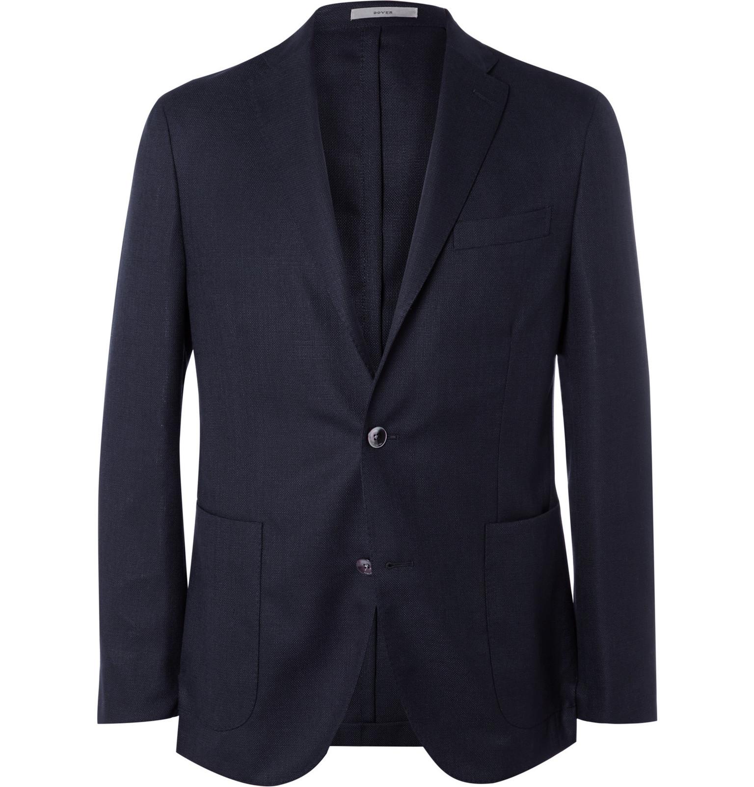 6b12d83882f Boglioli Blue Slim-Fit Wool-Hopsack Blazer