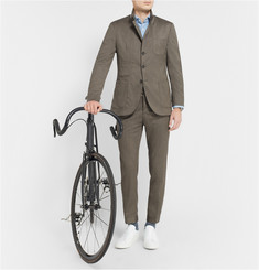 Incotex Cycling Reflective-Trimmed Wool-Blend Suit Trousers