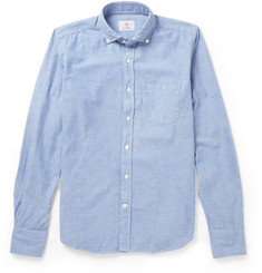 Incotex Cycling Reflective-Trimmed Chambray Oxford Shirt