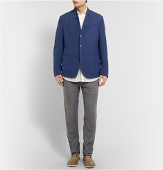 Massimo Alba Garment-Dyed Hounstooth Linen Trousers