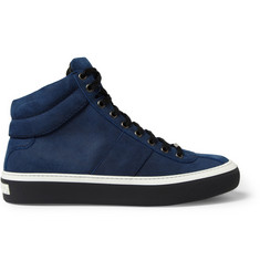 Jimmy Choo Belgravia Waxed-Suede High Top Sneakers