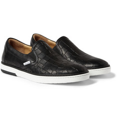 Jimmy Choo Grove Crocodile-Embossed Leather Slip-On Sneakers