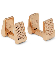 Kingsman Deakin & Francis Rose Gold-Plated Chevron Cufflinks