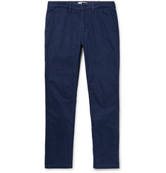NN.07 Marco Slim-Fit Brushed Stretch-Cotton Twill Trousers