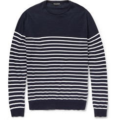 John Smedley Regatta Striped Knitted-Cotton Sweater