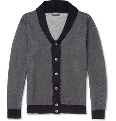 John Smedley Textured-Knit Cotton Shawl-Cotton Cardigan