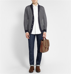 John Smedley Shawl-Collar Textured-Knit Cotton Cardigan