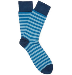 John Smedley Ethan Striped Cotton-Blend Socks