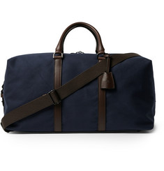 Mulberry Leather-Trimmed Canvas Clipper Bag