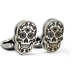Paul Smith Shoes & Accessories Day Of The Dead Engraved Mother-of-Pearl Cufflinks
