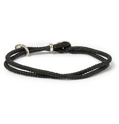 Paul Smith Shoes & Accessories Silver Skull Waxed-Cotton Wrap Bracelet