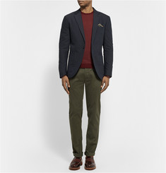 Club Monaco Grant Dot Slim-Fit Crinkled Cotton and Wool-Blend Blazer