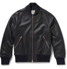 Club Monaco Full-Grain Leather Bomber Jacket