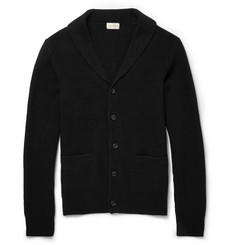 Club Monaco Suede Elbow Patch Ribbed-Knit Cardigan