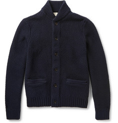Club Monaco Leather Elbow Patch Cotton Cardigan