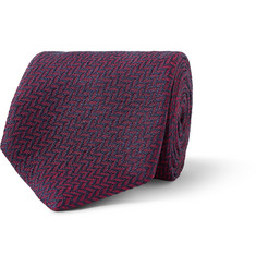Dunhill Chevron Patterned Mulberry Silk Tie