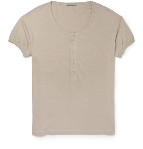 Bottega veneta cotton blend jersey henley t shirt mr for Bottega veneta t shirt
