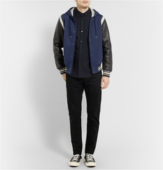 Marc by Marc Jacobs Leather-Sleeved Twill Varsity Jacket