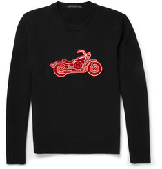Marc by Marc Jacobs Motorcycle-Appliqué Merino Wool Sweater