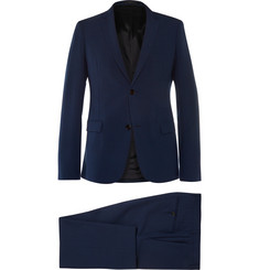 Jil Sander Navy Slim-Cut Wool-Blend Seersucker Suit