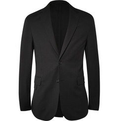 Balenciaga Black Textured Wool and Cotton-Blend Blazer