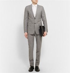 Balenciaga Grey Slim-Fit Flecked Wool-Blend Suit