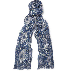 Junya Watanabe Printed Silk and Linen-Blend Scarf
