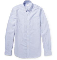 Aspesi Button-Down Collar Checked Cotton-Seersucker Shirt