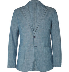 Aspesi Blue Slim-Fit Chambray Blazer