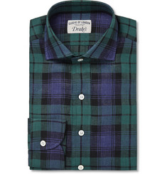 Drake's Black Watch Checked Cotton Shirt