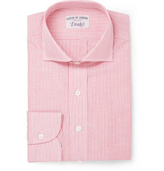 Drake's Red Striped Cotton and Linen-Blend Shirt