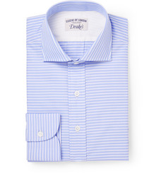 Drake's Blue Striped Cotton Shirt
