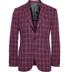 MP Massimo Piombo Red Checked Linen Blazer