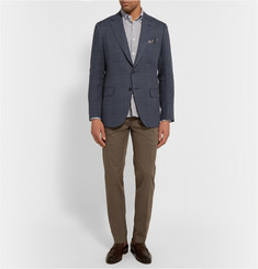 MP di Massimo Piombo Navy Slim-Fit Prince Of Wales Check Linen and Silk-Blend Blazer