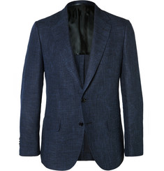 MP Massimo Piombo Navy Slim-Fit Hopsack Linen, Silk and Cotton-Blend Blazer