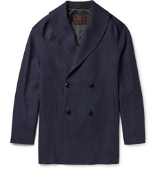 MP Massimo Piombo Textured Linen-Blend Shawl-Collar Jacket
