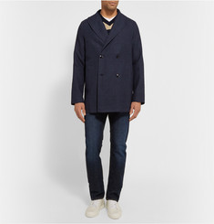 MP di Massimo Piombo Textured Linen-Blend Shawl-Collar Jacket