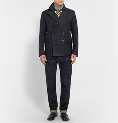 MP di Massimo Piombo Navy Prince Of Wales Check Linen and Silk-Blend Jacket