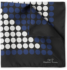 MP Massimo Piombo Polka-Dot Silk-Twill Pocket Square