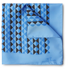 MP Massimo Piombo Printed Silk Pocket Square