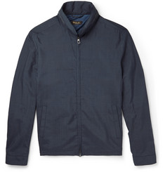 Loro Piana Suede-Trimmed Silk Bomber Jacket