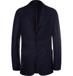 Loro Piana Navy Unstructured Suede-Trimmed Silk and Cashmere-Blend Blazer