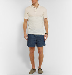 Loro Piana Mid-Length Cotton-Chambray Swim Shorts