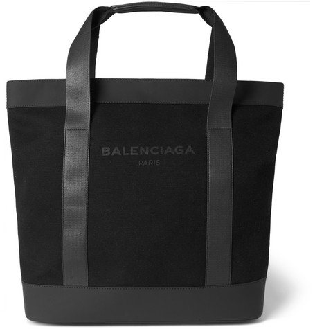 balenciaga male 188971 balenciaga canvas and leather tote bag black