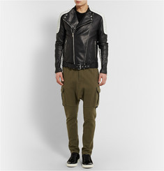 Balmain Quilted Two-Tone Leather Biker Jacket