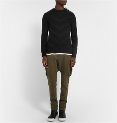 Balmain Chervron Contrast-Knit Cotton Sweater