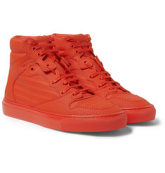 Balenciaga Perforated-Leather High Top Sneakers